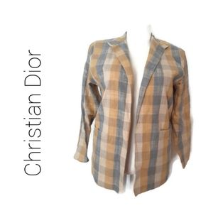 Christian Dior Plaid Blazer Jacket Vintage Large